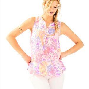 Lilly Pulitzer Kery Silk Top XL LIKE NEW!!!!!
